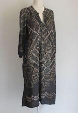 Isabel Marant Etoile Chain Print Semi Sheer Stud Neck Kaftan Size 40 Uk 10/12