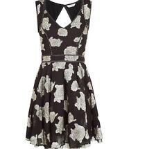 Monsoon Saffi Black Lurex Jacquard Rose Print Vintage Party Skater Dress RRP £78