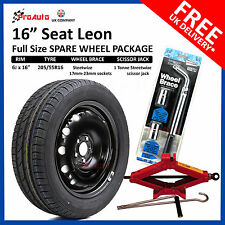 "SEAT LEON 2009-2017 16"" FULL SIZE STEEL SPARE WHEEL & TYRE  + TOOL KIT"