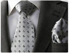 GREY PATTERNED SILK TIE & HANKY - ITALIAN DESIGNER Milano Exclusive