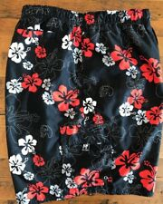 Big Dogs Mens 2XL Swim Trunks Black Red Hibiscus Hawaiian Print Mesh Lined MINT