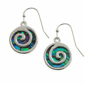 Spiral Earrings Paua Abalone Shell Koru Silver Fashion Jewellery 18mm Drop