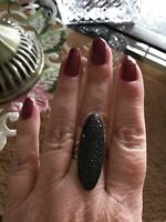 SIZE 7-2.59CT ROUND BLACK SPINEL RHODIUM OVER STERLING SILVER RING