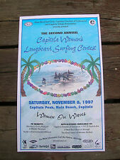 capitola womens longboard classic surf contest surfing surfboard poster girls