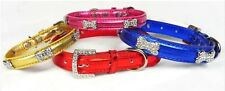 Dog Collar Metallic Faux Leather Crystal Bone quality Collars  Pet
