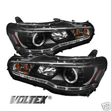 2008-2012 MITSUBISHI LANCER EVO 10 HID LED PROJECTOR HEADLIGHTS LIGHTBAR BLACK