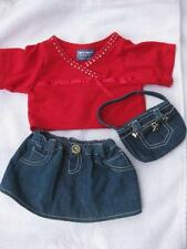 Build a Bear Sparkling Top Blue Jean Skirt Purse Outfit
