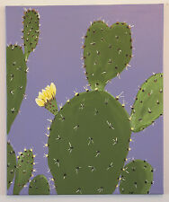 """Original Contemporary Painting PRICKLY PEAR CACTUS Signed Katy Dell 20 x 24"""""""