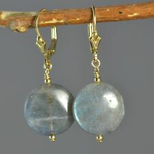 14k Gold Filled Natural Labradorite Coin Earrings