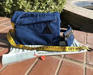 NWT $785 OFF WHITE c/o VIRGIL ABLOH Industrial Belt Denim Messenger Bag Blue