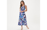 Susan Graver Regular Printed Liquid Knit Maxi Dress, Navy Purple, SP