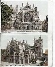 LOVELY  VINTAGE POSTCARD,x 2,EXETER CATHEDRAL,WEST FRONT & FROM SW,DEVON,1905/10