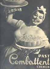 Pubblicità anni 50 Pasta Combattenti Cremona 1952 Boccasile advertising reklam R