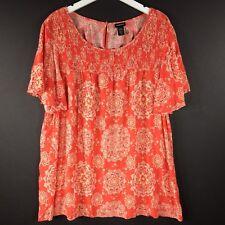 TORRID Women's Top Plus Size 3X 22 100% Rayon Orange Floral Peasant Blouse