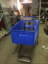 Shopping Carts Blue Plastic Lot 8 Large Size Used Grocery Store Liquor Warehouse