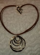 "18"" Leather Pendant Necklace Anne Klein Gold Tone Multi-Circle"