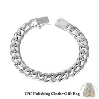 "925 Sterling Silver Chain Link Bracelet Chunky Mens Women 8""Inch Fashion Bangle"