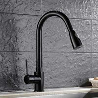 Black Matte Pull Out Spray Kitchen Sink Swivel Faucet Vessel Counter Mixer Tap