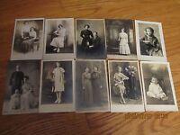 ANTIQUE LOT TEN (10) RPPC REAL PHOTO POSTCARDS WOMEN CHILDREN COUPLES