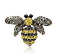Pretty Vtg 50's Style Sparkly Rhinestone Black & Yellow Honey Bee Pin Brooch