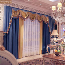 Stunning European luxury velvet blue cloth blackout curtain valance drape B768