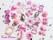 "24 x 3D Nail Art ""Pink Love"" Flowers Bows Silver Almond Alloy Jewel Rhinestones"