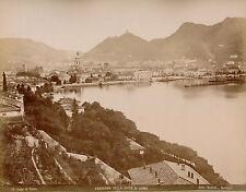 LAGO DI COMO c. 1875 - 2 Photos Bosetti Panorama della Citta di Como Italie - 12