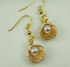 Pretty New Gold Plated Sea Shell w/Pearl Accent Dangle Drop Earrings
