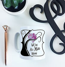 Alice in Wonderland We're All Mad Here Cheshire Cat Novelty Ceramic 10oz Mug