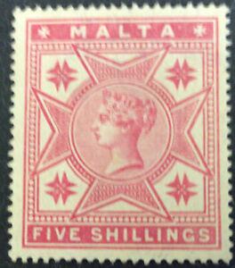 Malta Victoria 5/- Rose MNG Mint No Gum SG30 C/V £110.00 As Mint