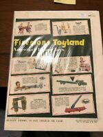 VINTAGE  2 FIRESTONE TOYLAND AMERICA'S FINEST PRINTING AD FROM LATE 40'S TO 50'S