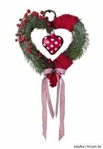 Heine Christmas Heart Fir Branches Glass Heart Plaid Ribbon