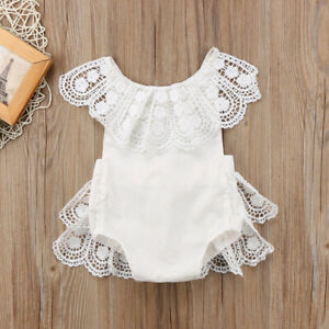 Newborn Infant Kids Baby Girls Sleeveless Lace Romper Jumpsuit Outfit Clothes