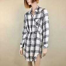 NWOT RAILS Nadine Shirt Dress Plaid Blair White Charcoal Gray Size Small