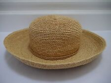 NEW HELEN KAMINSKI natural braided raffia sun hat string band NWOT