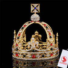 CZ Gold Crown Full Head Tiaras Crystal Hair Pageant Princess Queen King Crown
