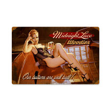 Midnight Lace Woodies Hildebrandt Pin Up Pinup Girl Tin Metal Sign 18x12