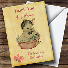 Pink Baby Girl Thank You For Being My Godmother Personalised Sibling Card