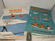 Two Vintage American National Red Cross ARC Poster Water Safety