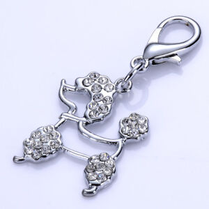 Rhinestone Pet Accessory Dog Tag Charm Pet Collar Necklace Lobster Clasp Pendant