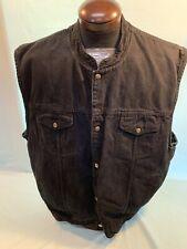 Mens Bikers Edge Heavy Cotton Front Vest Pocket Snap Black 6XL