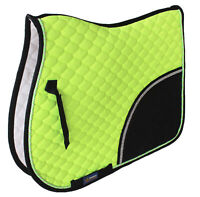 Horse Cotton Quilted ENGLISH SADDLE PAD Tack Trail Riding Lime Green 72F09