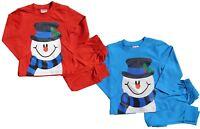 Noël Bonhomme de neige pyjama coton bleu ou rouge garçons et filles 2 à 6 ans