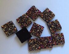15 x Purple/Gold/Pink Acrylic Flatback Sparkle Glitter Square Cabochons - 11 mm