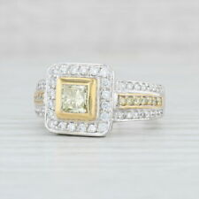 1.43ctw Yellow & White Diamond Halo Ring - 22k 18k Gold Size 7.75Cocktail