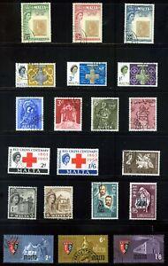 MALTA 1960 - 64 QEII COMMEMORATIVES : 8 SETS 20 STAMPS FINE USED: See List