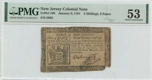 January 9 1781 New Jersey 3 Shillings 9 Pence NJ-198 PMG 53