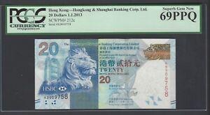 Hong Kong 20 Dollars 1-1-2013 P212c Uncirculated Grade 69