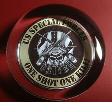 U.S. SPECIAL FORCES `SNIPER`.  ONE SHOT ONE KILL`  GLASS PAPERWEIGHT