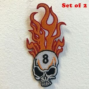 Flaming Skull 8 Ball Biker Iron on Sew on Embroidered Patch Set of 2